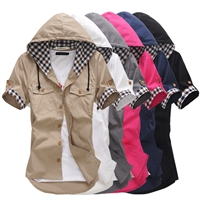 Unique design hooded shirt Short sleeve shirt
