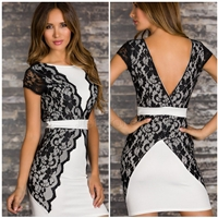 Backless Career Office Dress With Lace Patchwork