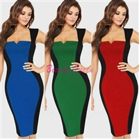 Optical Illusion Colorblock Cap Sleeve Party Pencil Dress