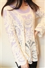 Sheer Sleeve Embroidery Floral Lace Blouse
