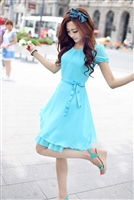 Slim Short-Sleeve Summer Female Chiffon One-Piece Dress