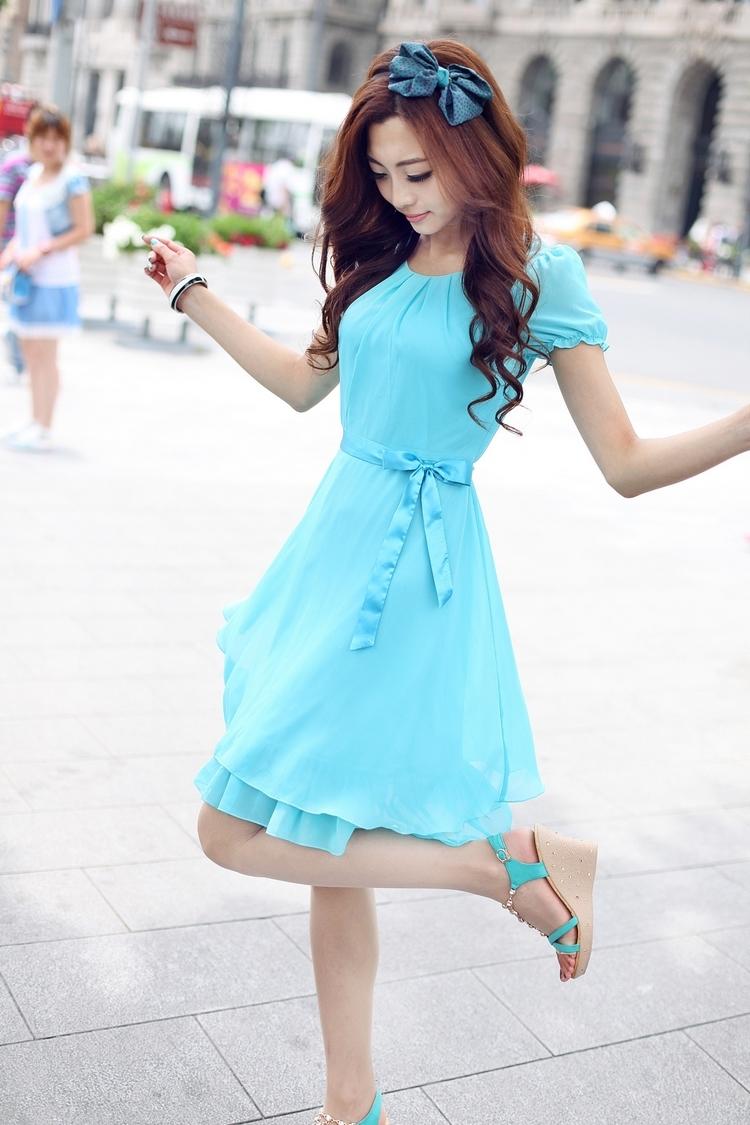 Slim Short Sleeve Summer Female Chiffon One Piece Dress