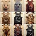 Women/Men tiger Animal 3D Sleeveless vests double side print Tank Top
