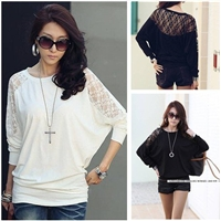 Batwing Sleeve Lace Patchwork Blouse