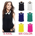 Spring Summer Brand Casual Chiffon Blouse Turn-down Collar Fashion Sleeveless Women Blouses & shirts