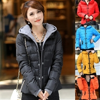 2014 new women's winter coat jacket short paragraph Slim big fashion hooded jacket ladies