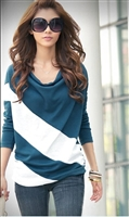 Loose sleeve T-shirt stitching striped long-sleeved knitwear pullover for ladies