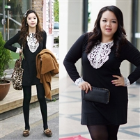 2014 Winter casual dress women long sleeve knee-length lace plus size dress women clothing