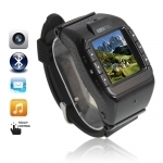 "(N388)1.3"" Touch Screen Tri-Band Camera Bluetooth Watch Cell Phone Black"