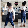 Girls fashion denim jumpsuit overalls