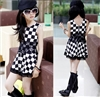 Summer black-and-white plaid one-piece chiffon dress