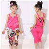 Girls tank top with metallic bowknot+floral print trousers