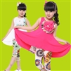 Girls Pastoral Flower dress + leggings