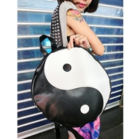 Harajuku mandarin duck color block black and white circle rivet rough strap backpack school bag#P0211