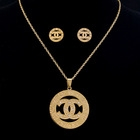 Golden CC 316Lstainless steel Pendant Necklace and Earrings