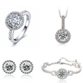 Genuine Simulated Swiss Diamond Wedding Engagement Bridal Jewelry Sets