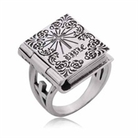 Mens Bible luck ring Vintage classic 925 silver