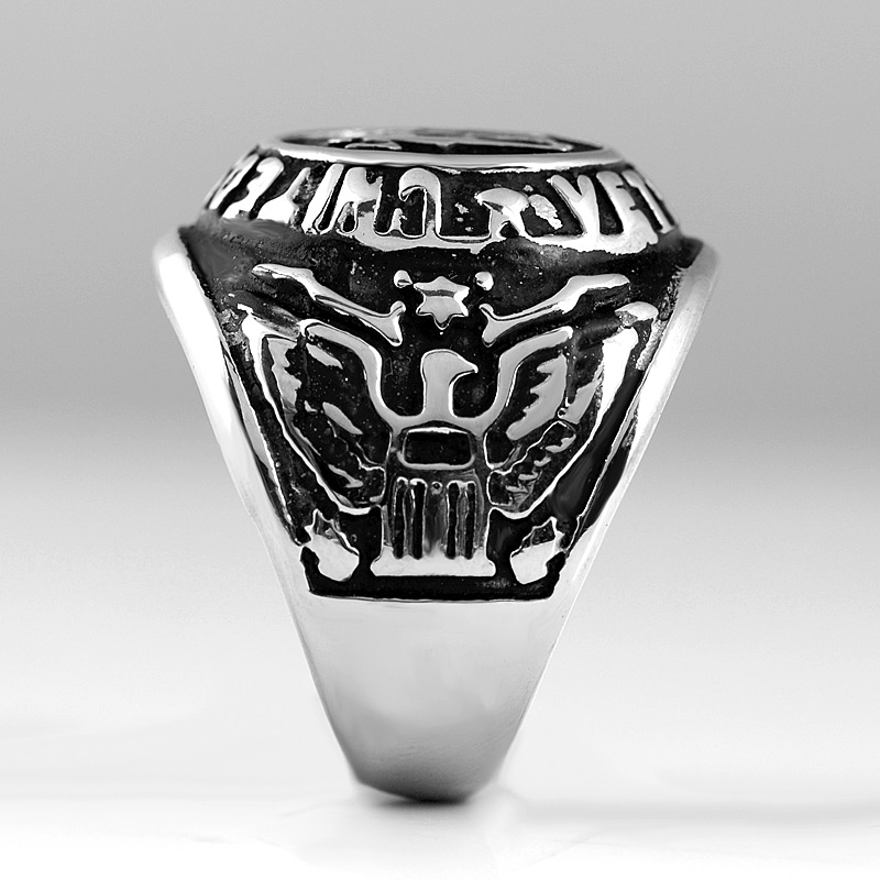 Military Ring Stainless Steel United States Veteran Mens