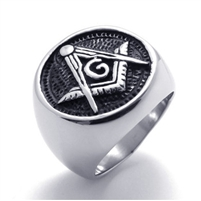 Embossed Stamped Masonic Stainless Steel Black Enamel Mens Signet Ring