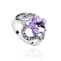 100% Austria Crystal Platinum Plated Ring 452