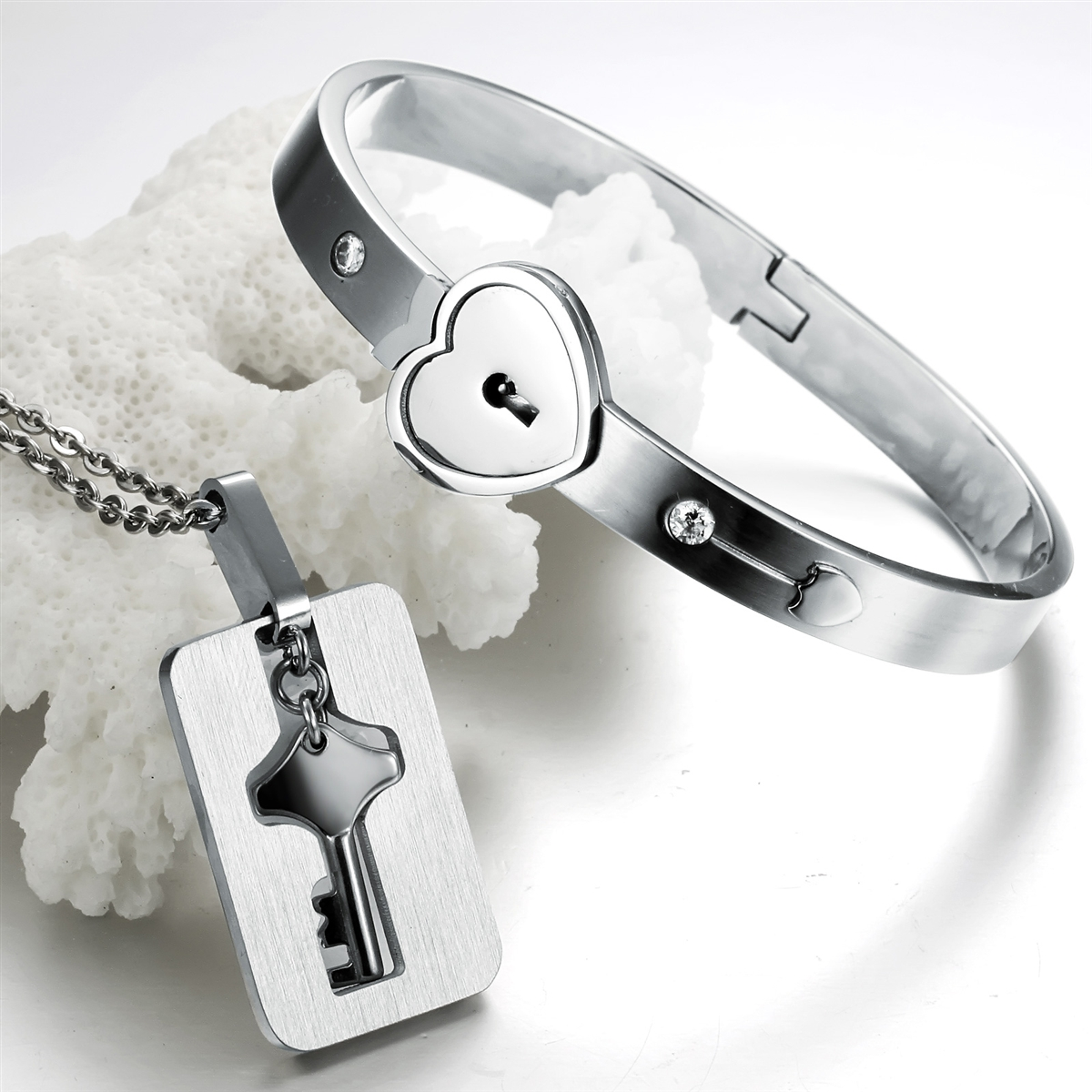 Womens Heart Lock Bracelet Mens Key Necklace Titanium