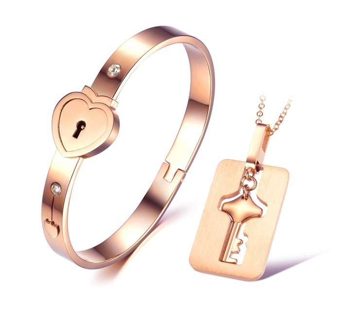 Womens heart lock bracelet mens key necklace titanium steel womens heart lock bracelet mens key necklace titanium steel couples jewelry set aloadofball Image collections