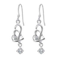 Heart To Heart Simulated Diamond 925 Sterling Silver Earrings