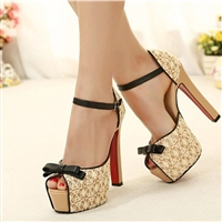 Lace Red Bottom Square High Heel Platform Pump Shoes