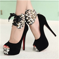Leopard Print Red Bottom Thin Heel Open Peep Toe Sandals