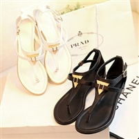 vintage summer flat sandals triangle metal women's shoes belt clip flip-flop shoes