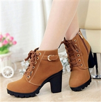Autumn and winter velvet short boot thick heels