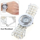 Rhinestone Decoration Quartz Ladies Women Dress Watch Bracelet with Round Dial