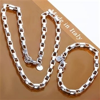 Wholesale Fashion Jewelry Set,Box chain 2 Piece set,925 Sterling silver Necklace&Bracelet