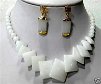 Graceful natural white jade earring necklace set
