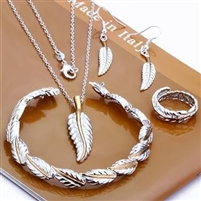 Fashion Jewelry Set,Feather 4 Piece set,925 Sterling silver Necklace&Bracelet&Earrings