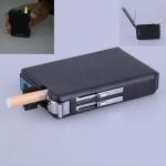 Windproof Refillable Butane Gas Cigarette Lighter With Cigarette Case Black Can Hold 10 Cigarettes