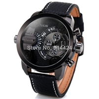 Oulm Men Watch with Double Movt Numbers and Strips Hours Marks