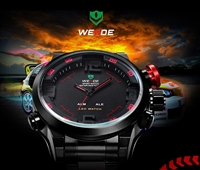 WEIDE Men Watch Military 3ATM Dual Time LED Digital Analog